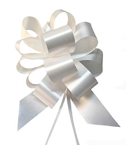 Party Store Srl - Paquete de 50 Maxi Lazos automáticos - Color blanco - Tamaño 5cm - Ideal para bodas, como decoración del coche nupcial
