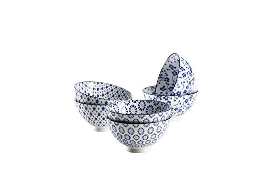 Mäser 931221 serie Alicante, kom, set van porseleinen schalen, blauw, mueslikommen voor 6 personen