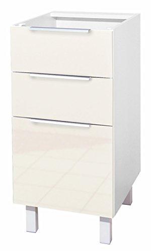 Berlioz Creations CT4BI - Mueble bajo de Cocina con 3 cajones (40 x 52 x 83 cm), Color Marfil Brillante