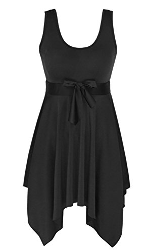 Women's One Piece Swimsuit Plus Size Skirted Swimwear Cover up Swimdress, Black, IT48/US14