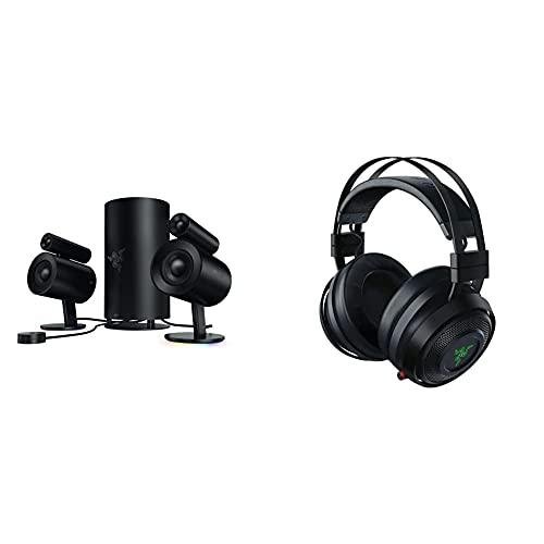 Razer Nommo Pro - 2.1 Virtual Surround Premium Gaming und Heimkino Lautsprecher System mit THX-Zertifikat & Nari Ultimate – Wireless Gaming Headset (Kabellose HyperSense Kopfhörer) Schwarz