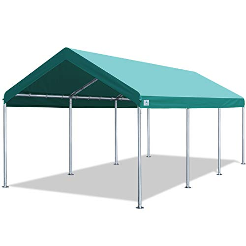 ADVANCE OUTDOOR 10x20 ft Heavy Duty Carport Car Canopy Garage Boat Shelter Party Tent, Adjustable Height from 6.0ft to 7.5ft, Green