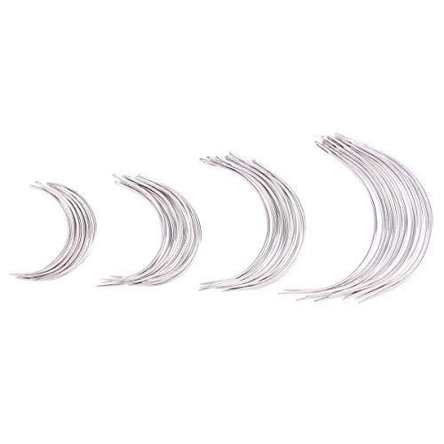 SUPVOX Agujas curvadas de 48pcs Tipo C Agujas Que cosen de Aguja de la Mano Que tejen 4 tamaños 2.0/2.5/3 / 3.5 Pulgadas