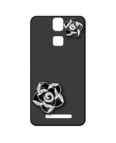 Sunrive Kompatibel mit Elephone P8000 Hülle Silikon,Glitzer Diamant Strass Handyhülle matt Schutzhülle Etui 3D Hülle Backcover (Schwarze Blume) MEHRWEG+Gratis Universal Eingabestift