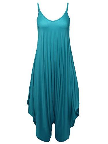 Made by Emma Solid Harem Pant Sleeveless Harem Pant Jumpsuit Teal S