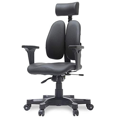 【DUOREST Gold】 Dual-BACKREST Home Office Desk Chairs - Best Office Chair for Posture, Office Chair for Bad Back, Office Chair for Back Pain, Leather Office Chair, Executive Office Chair (Leather)