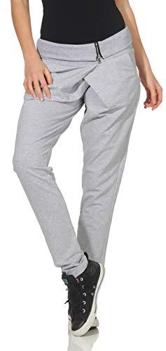 Malito Envolver Pantalón Boyfriend Torcedura Baggy Aladin Bombacho Sudadera 3318 Mujer Talla Única (Gris Claro-2)