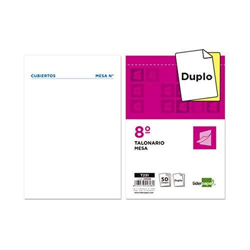 Liderpapel Talonario Camarero 8║ Original Y Copia T231 Papel Autocopiante