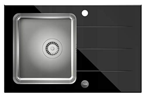 VBChome Glasspüle 78 x 50 Spülbecken Spüle Einbauspüle schwarz Glas inkl. Ablaufgarnitur gehärtetes Spüle mit Gebürstete Edelstahl Becke