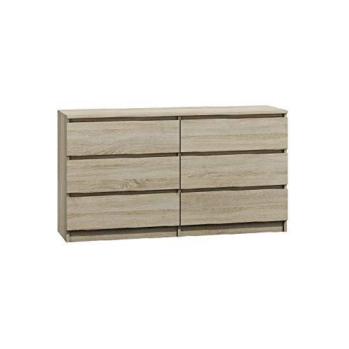 BIM Furniture Marbella Comò con 6 cassetti multiuso da 140 cm, ideale per camera da letto e soggiorno