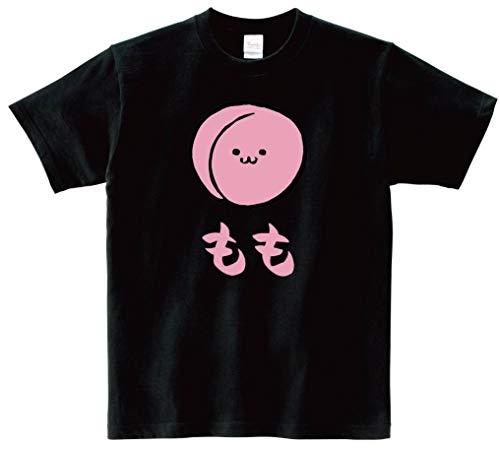 もも モモ 桃 野菜 果物 筆絵 イラスト カラー おもしろ Tシャツ 半袖 ブラック L