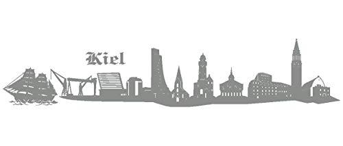 Samunshi® Wandtattoo Kiel Skyline Wandaufkleber in 6 Größen und 19 Farben (100x20cm Mittelgrau)