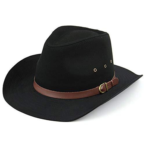 Chapeau à larges bords et trous d'aération - Noir ou beige - Hawkins - Noir - Large