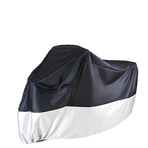 Funda para Motocicleta para Todas Las Estaciones, Negra, Impermeable, Resistente al desgarro, Duradera, Funda para Motocicleta-Black and Silver  XXL