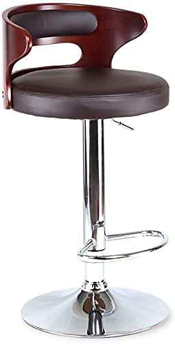 WENJIA Adjustable Swivel Bar Stools,Faux Leather Gas Lift Breakfast Kitchen Chairs with Crescent Shaped Back,3 Colors (Color : Brown) (Color : Brown)