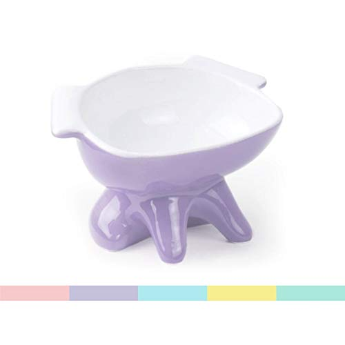 ViviPet Premium Elevated Dog Feeder, Single Raised Cat Bowl Ceramic Bowl, Perfect for Small to Medium Sized Cats. (Purple)