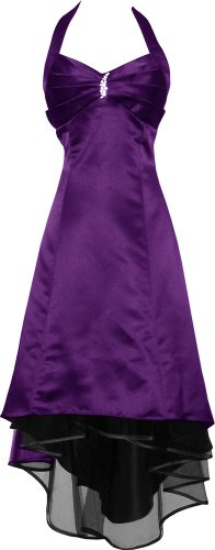 Satin Halter Dress Prom Bridesmaid Holiday Junior Plus Size, Large, Purple