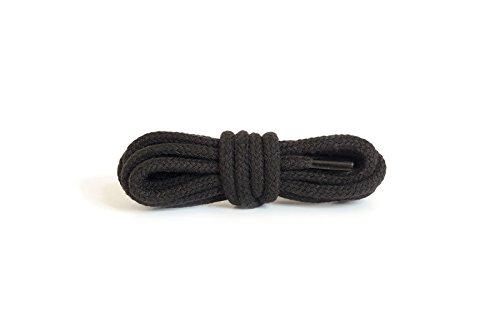 Kaps Runde, dicke Schnürsenkel, Durchmesser: 5–6mm, strapazierfähig, aus 100% Baumwolle für Freizeitschuhe (120 cm - 47 inch - 6 bis 8 Schnürösenpaare / 91 - Schwarz)