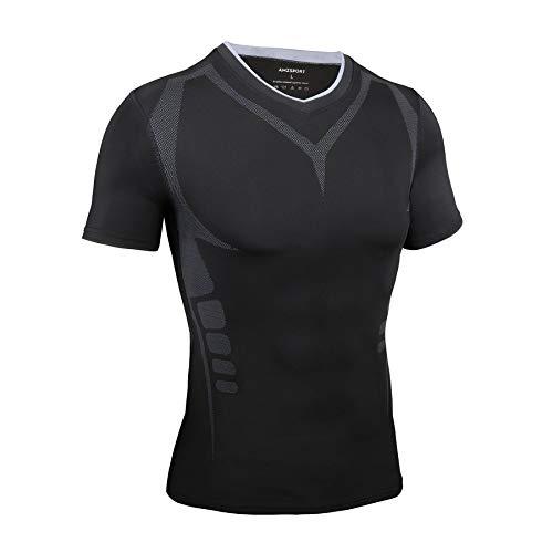 AMZSPORT Maglietta a Compressione da Uomo Maglia a Manica Corta T-Shirt Sportiva da Corsa Palestra Nero L