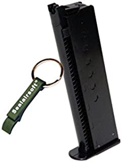 WE 15rds Airsoft Gas Magazine For WE P38 Series GBB Black -Mobile Ring Included