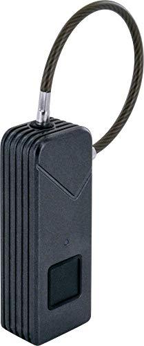 SCHWAIGER -715934- Schlüssellose Fingerabdruckschloss | IP65 Wasserdichtes Lockerschloss aus Zinklegierung | Smartes Vorhängeschloss mit USB Aufladung fürs Camping, Zelt, Rücksack, Gepäck, etc.