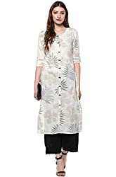 Janasya Womens Off White Cotton Straight Floral Print Kurta
