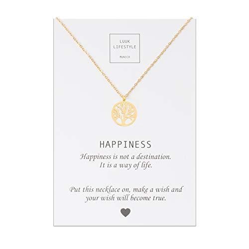 LUUK LIFESTYLE Edelstahl Halskette mit Lebensbaum Anhänger und Happiness Spruchkarte, Glücksbringer, Damen Schmuck, gold