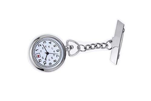 Fob Enfermera Reloj de Plata con 24 Horas (GMT) Escala Clip en el Reloj de Bolsillo de Cuarzo