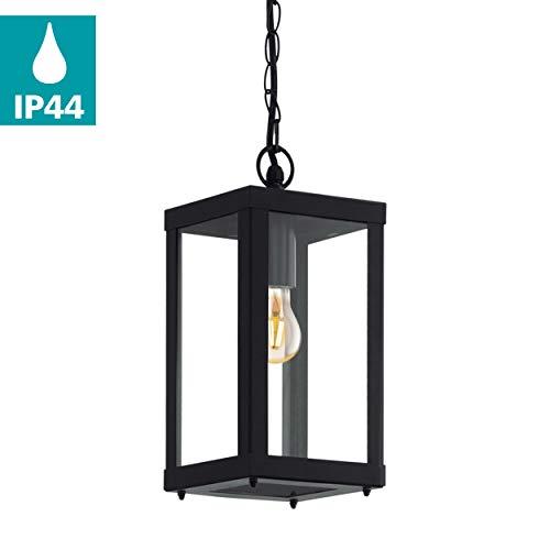 EGLO Außen-Hängelampe Alamonte 1, 1 flammige Außenleuchte, Pendelleuchte aus Stahl verzinkt, Farbe: Schwarz, Glas: klar, Fassung: E27, IP44