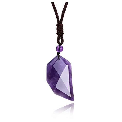 Jovivi Par de collares colgantes de piedra natural con cordón ajustable para mujer, regalo Amatista