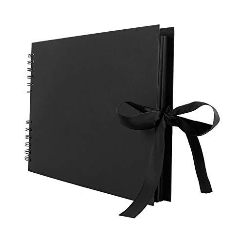 WXX 2 PCS Fotoalbum Einkleb DIY Fertigkeit-Fotoalbum for Hochzeitstag-Geschenke Memory Books, Innere Seite: 40 Seiten (Schwarz) (Color : Black)