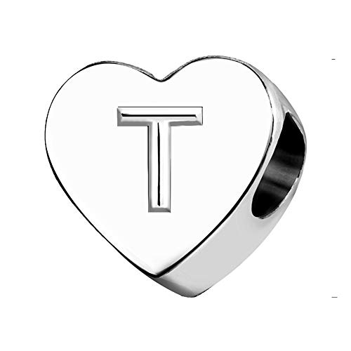 KunBead Letter Love Heart Silver Birthday Gifts Initials Alphabet Beads Charms for Bracelets Necklaces