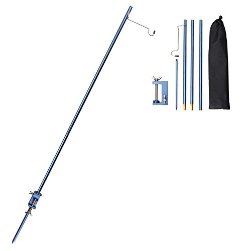 TOBWOLF Portable Camping Folding Lamp Pole with Peg, Lightweight Collapsible Aluminum Lantern Stand, Outdoor Lamp Post Hanging Light Holder Stick for Picnic, Hiking, Fishing, Backpacking, BBQ - Blue