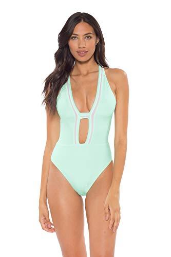 Soluna Women's Sun Beam Plunge One Piece Swimsuit Fresh Mint L