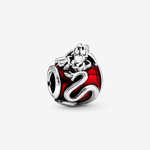 dingtian Abalorio de plata de ley 925 para mujer, compatible con pulseras de dragón rojo, para mujer