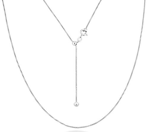 Miabella 925 Sterling Silver Italian 1mm Adjustable Solid Diamond-Cut Thin Bolo Box Chain Necklace for Women 14-24 Inch Made in Italy (Sterling Silver)