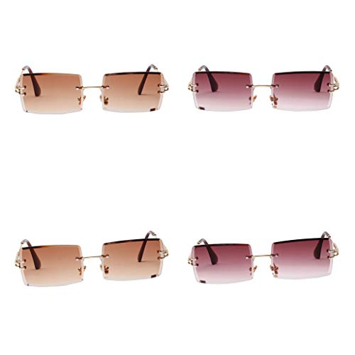 MagiDeal Gafas de Sol de 4 Piezas para Mujer con Corte Rectangular, Diseño de Fiesta, Lentes Teñidas