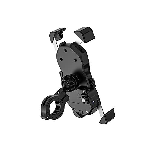 HSTG Soporte de teléfono Celular de Motocicleta, Control de Cable QC 3.0, Soporte semiautomático, rotación de 360 Grados, Soporte USB de navegación rápida
