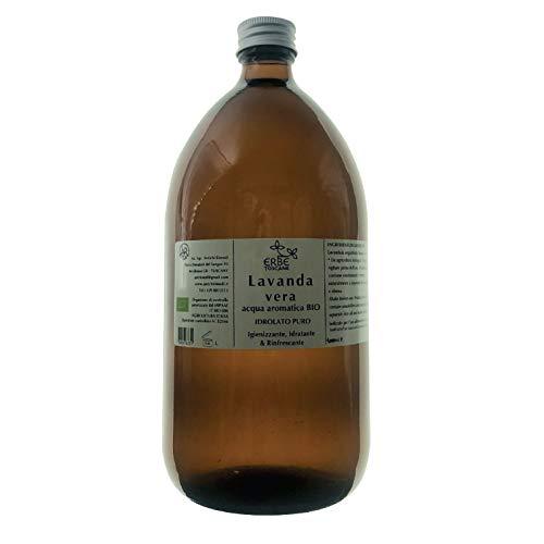 Acqua Aromatica BIO Lavanda Vera – Idrolato CALMANTE, LENITIVO, RINFRESCANTE - Puro concentrato di Natura – Erbe Toscane (1000 ml)
