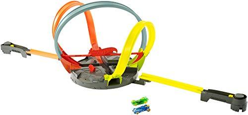 Hot Wheels FDF26 - Action Mega Looping Crashbahn rotierendes Trackset, Roto Revolution Rennbahn inkl. 2 Starter und 2 Spielzeugautos, Kinder Spielzeug ab 5 Jahren