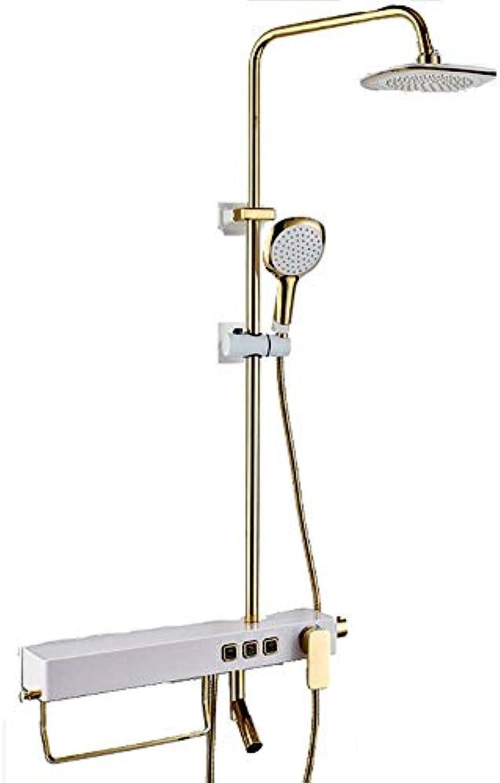 ZCG GGShower Quadratisches Brausegarnitur-Thermostat-Mischbatterie-Ventil mit Ablage Duschset Badezimmer Wandmontierte Handbrause aus Bronze (Farbe   Gold)
