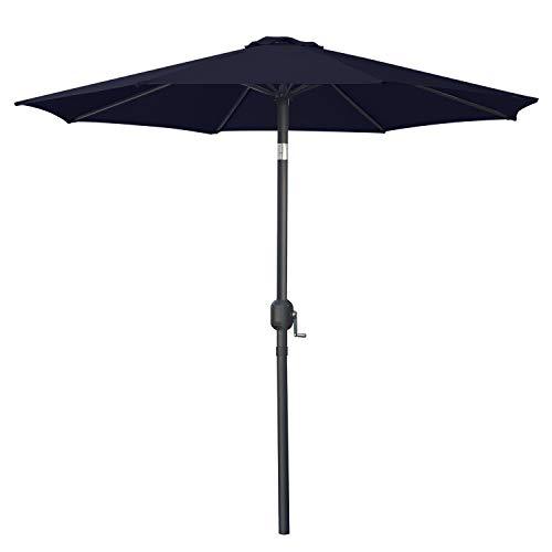 ABCCANOPY 270cm Sonnenschirm im Freien Wasserabweisende Bespannung -Gartenschirm Marktschirm,Navyblau+Weiß