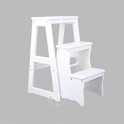 Brisk- Maison Simple Chaises Pliantes Usage Double Bois Massif Escabeau Intérieur Quatre Étapes Chaise À Échelle Multifonction Tabouret D'escalier Mouvement De Pin Escabeau ( Couleur : Blanc , taille : 3 layers )