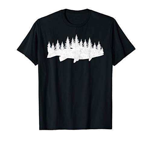 Steelhead Fishing - Forest Treeline Trout Fisherman Gift T-Shirt