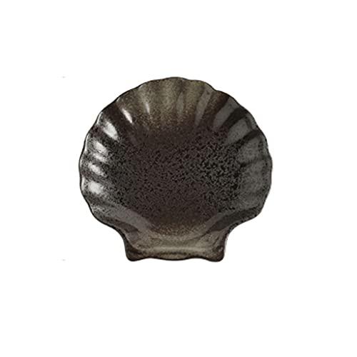 Aiglen Retro japonés Placa de gres Negro Retro vajilla de cerámica Placa Placa Placa Snacks Fruta bocadillos Desayuno Plato Cocina casa (Color : C)