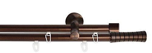 Tilldekor Innenlauf Gardinenstange HIGH-LINE CURVE, 2-Lauf, braun-antik, Ø 20 mm, 160 cm, inkl. Trägern und Gleitern