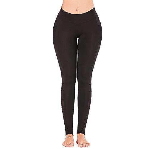 RRUI Panty voor dames, leggings met mesh, splitten, zelfcultivering, lente en zomer, ademende sporten, sneldrogend, spandex, fitness, broek, hennep, grijs, XL