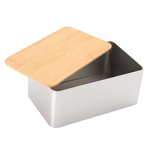 Cuisine Boîte De Rangement En Métal Avec Couvercle En Bambou Corbeilles Pain Boîtes De Sucre De Thé Titulaire Stoarge Titulaire Contenants Alimentaires Organisateur Fournitures