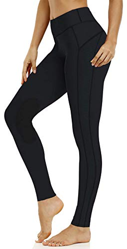 ChinFun Women's Riding Tights High Rise Pull-On Knee Patch Grip Ventilated Active Equestrian Pants Schooling Riding Breeches Black Size M