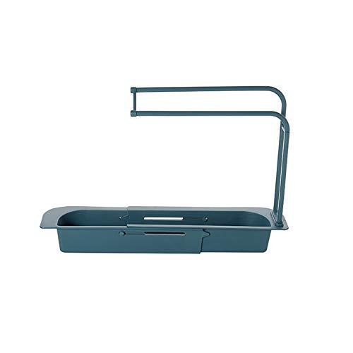 Almacenamiento de fregadero de cocina telescópico, rack de drenaje de fregadero expansible para la canasta de esponja de jabón, organizador de caddie con fregadero con percha de toalla,Azul